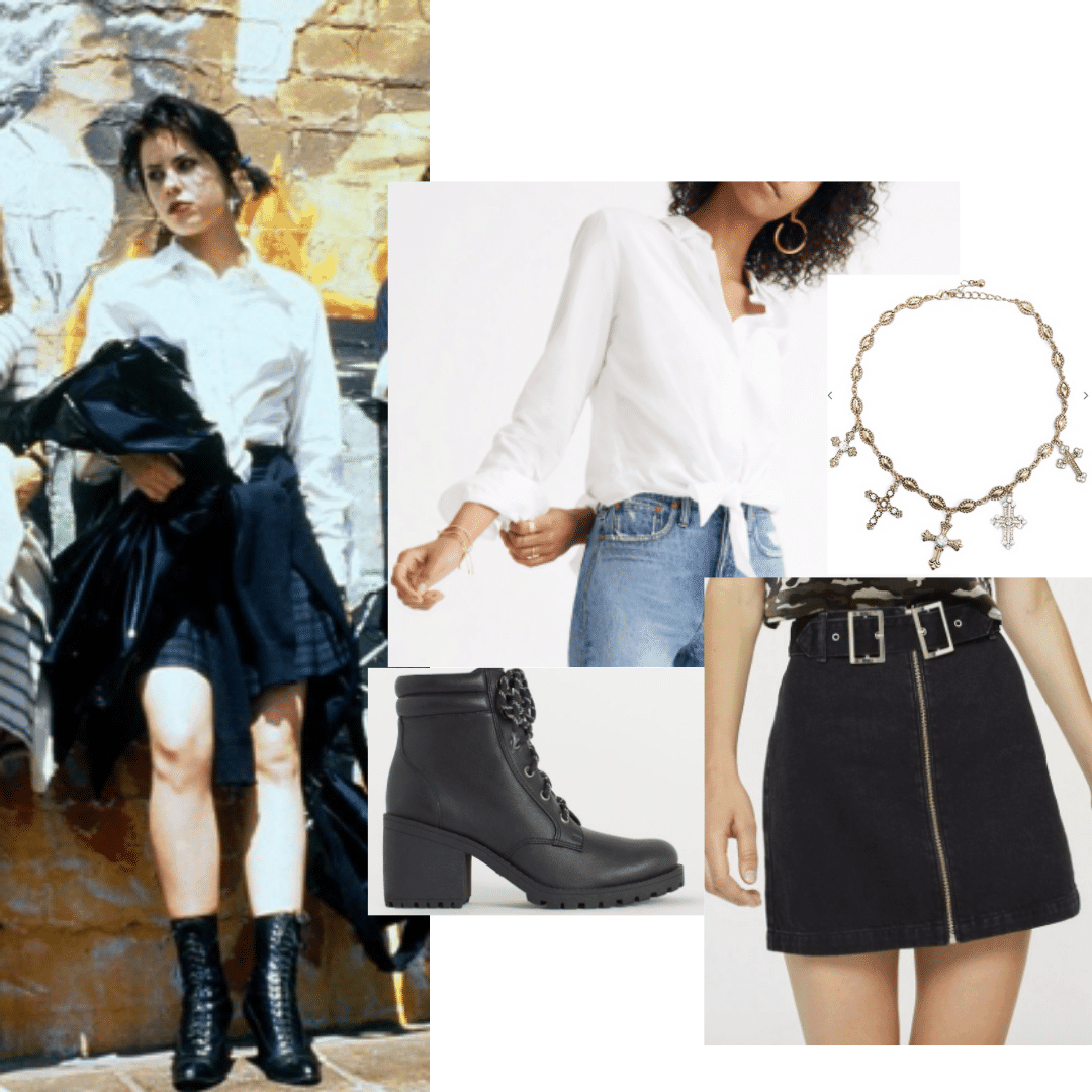 Outfit inspired by Nancy in The Craft: White button down shirt, black mini skirt, lace up combat boots, cross choker