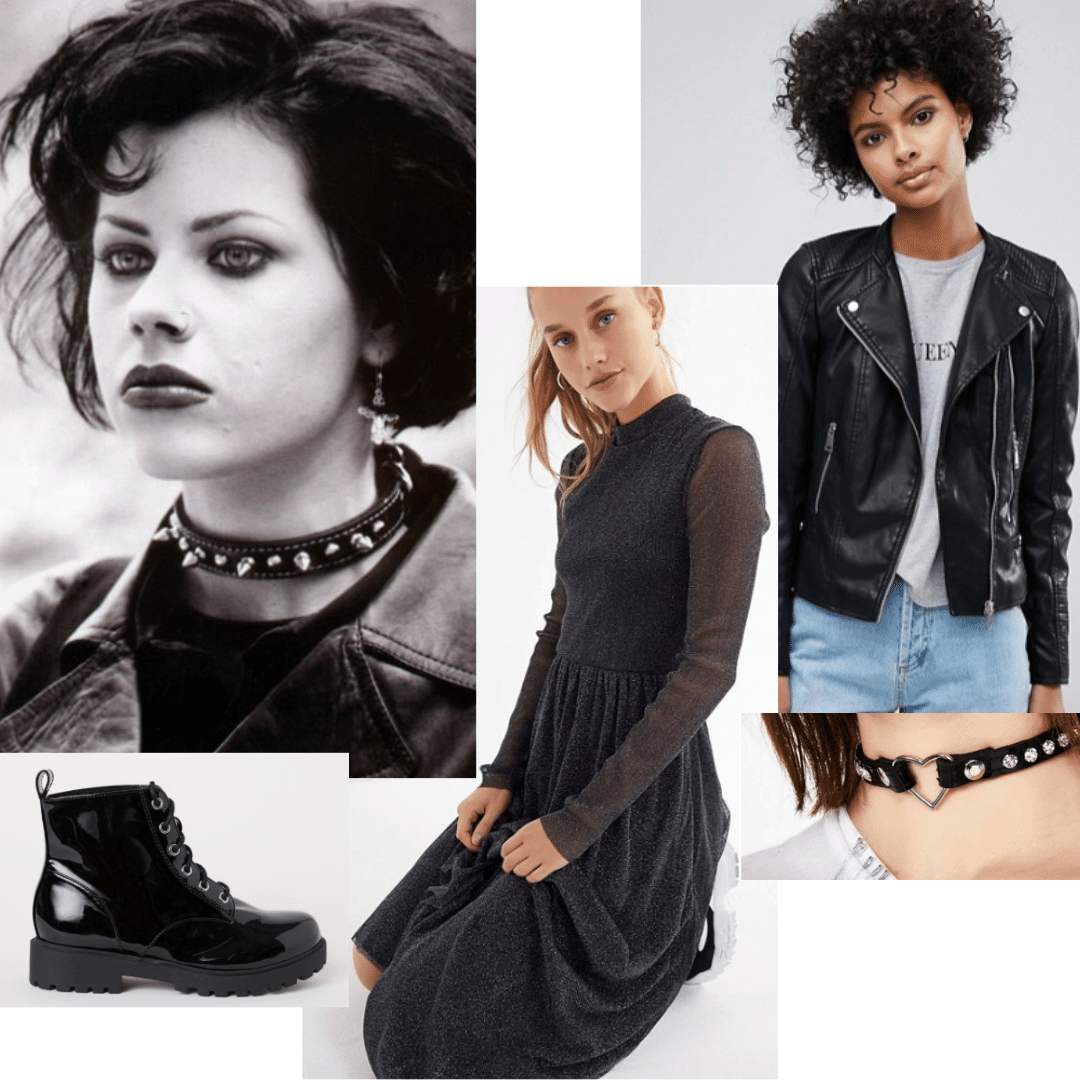 Outfit inspired by nancy from The Craft with black dress, black moto jacket, black combat boots, black leather choker