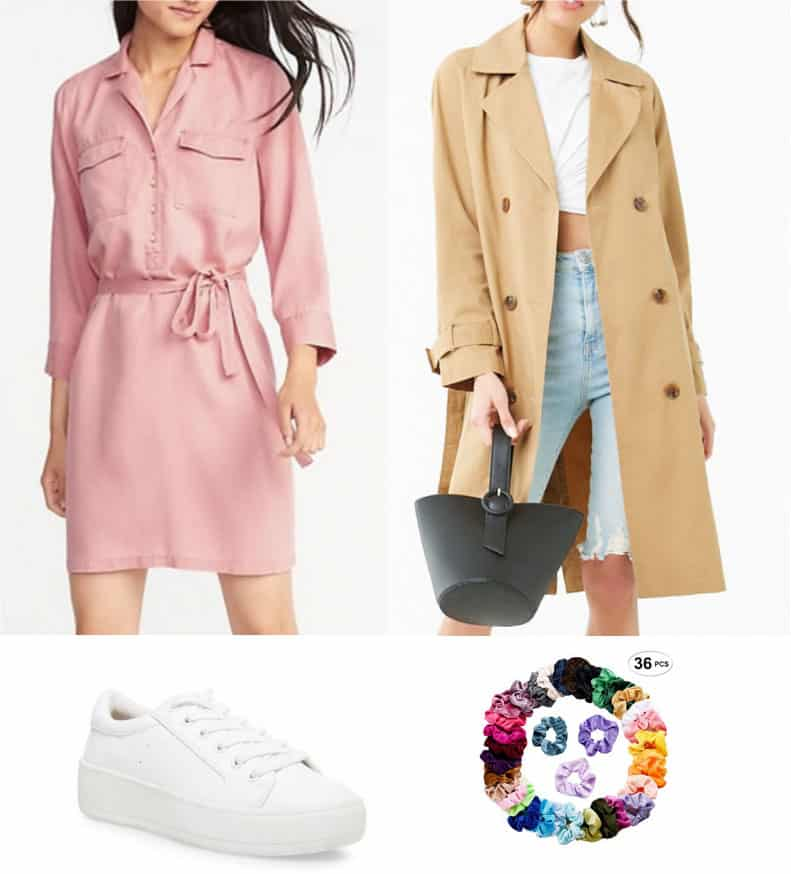Newsroom betty cooper outfit - pink dress, trench coat, white sneakers, scrunchie