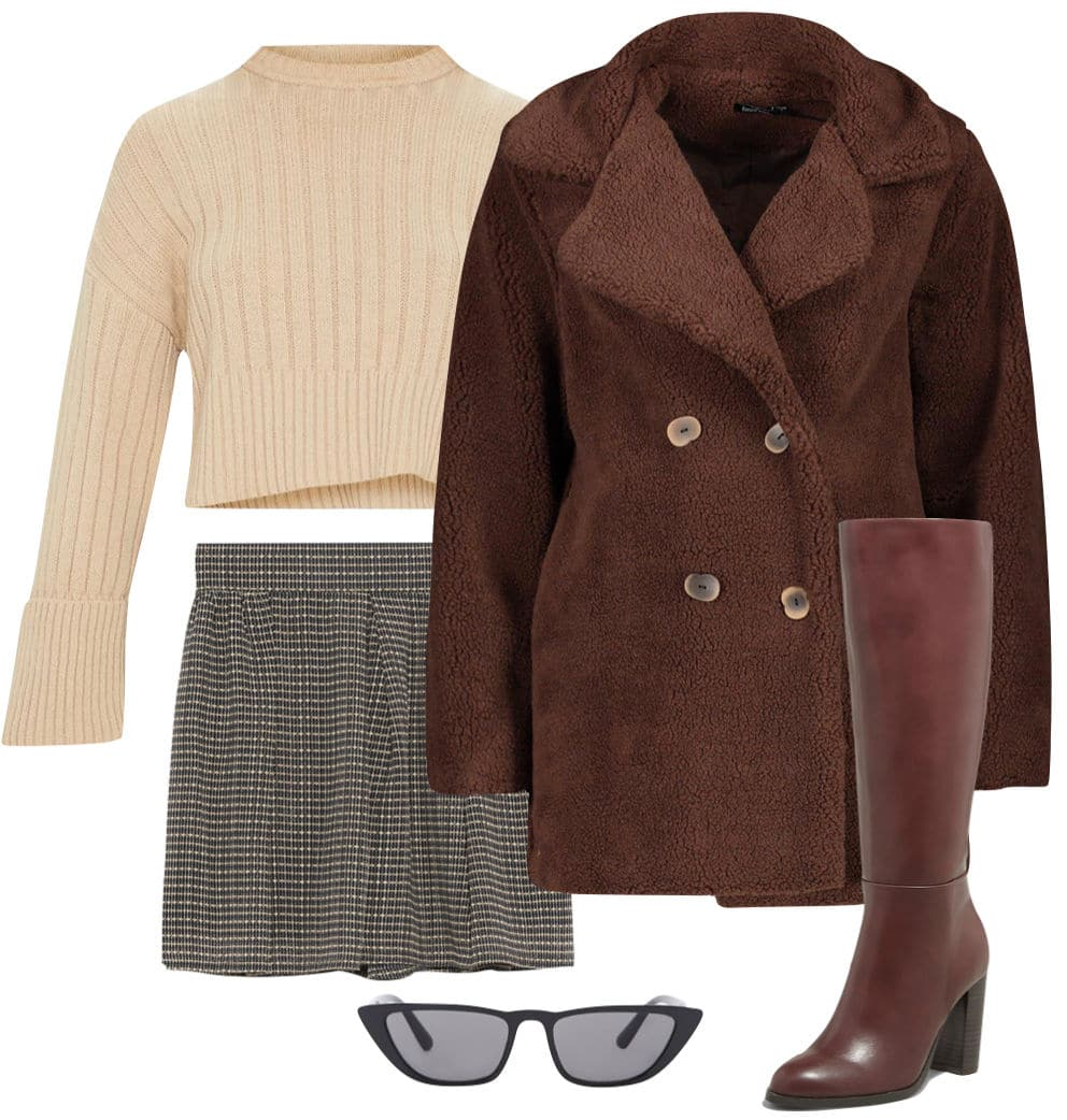 Olivia Culpo Outfit: cream cropped sweater, checked high rise shorts, brown faux fur jacket, rectangular cat eye sunglasses and burgundy knee-high stacked heel boots