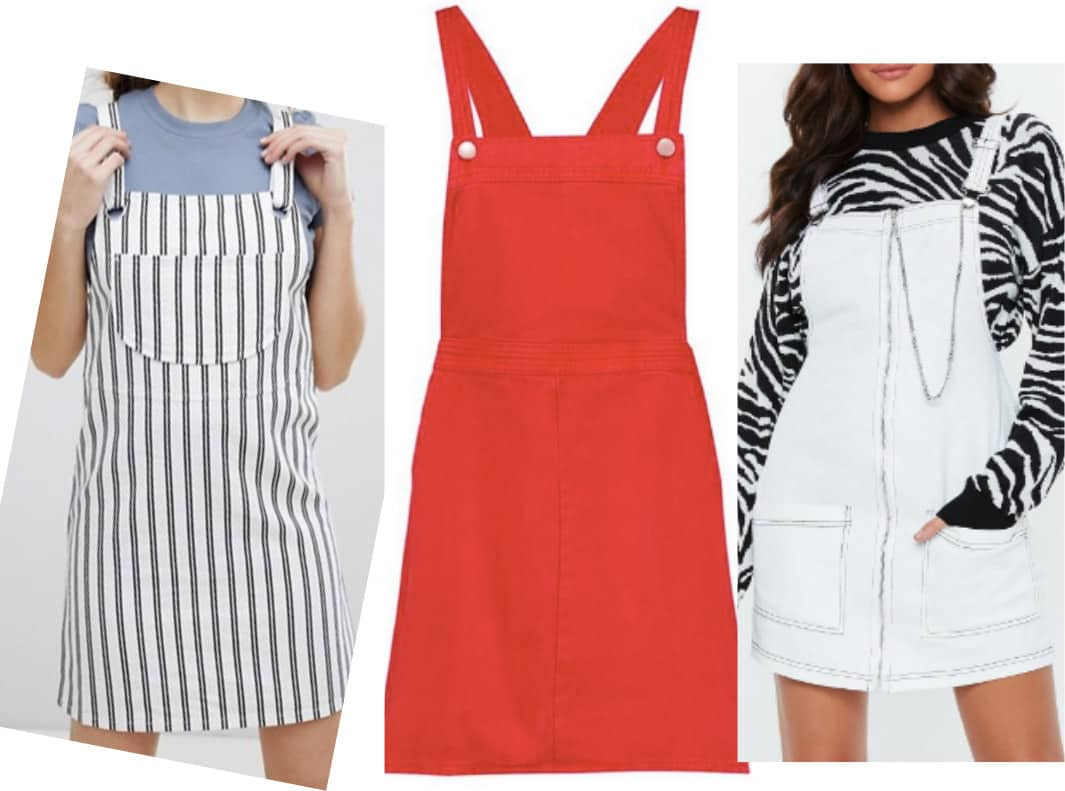 How to wear overall dress - cute overall dresses in stripe, red, and light wash denim