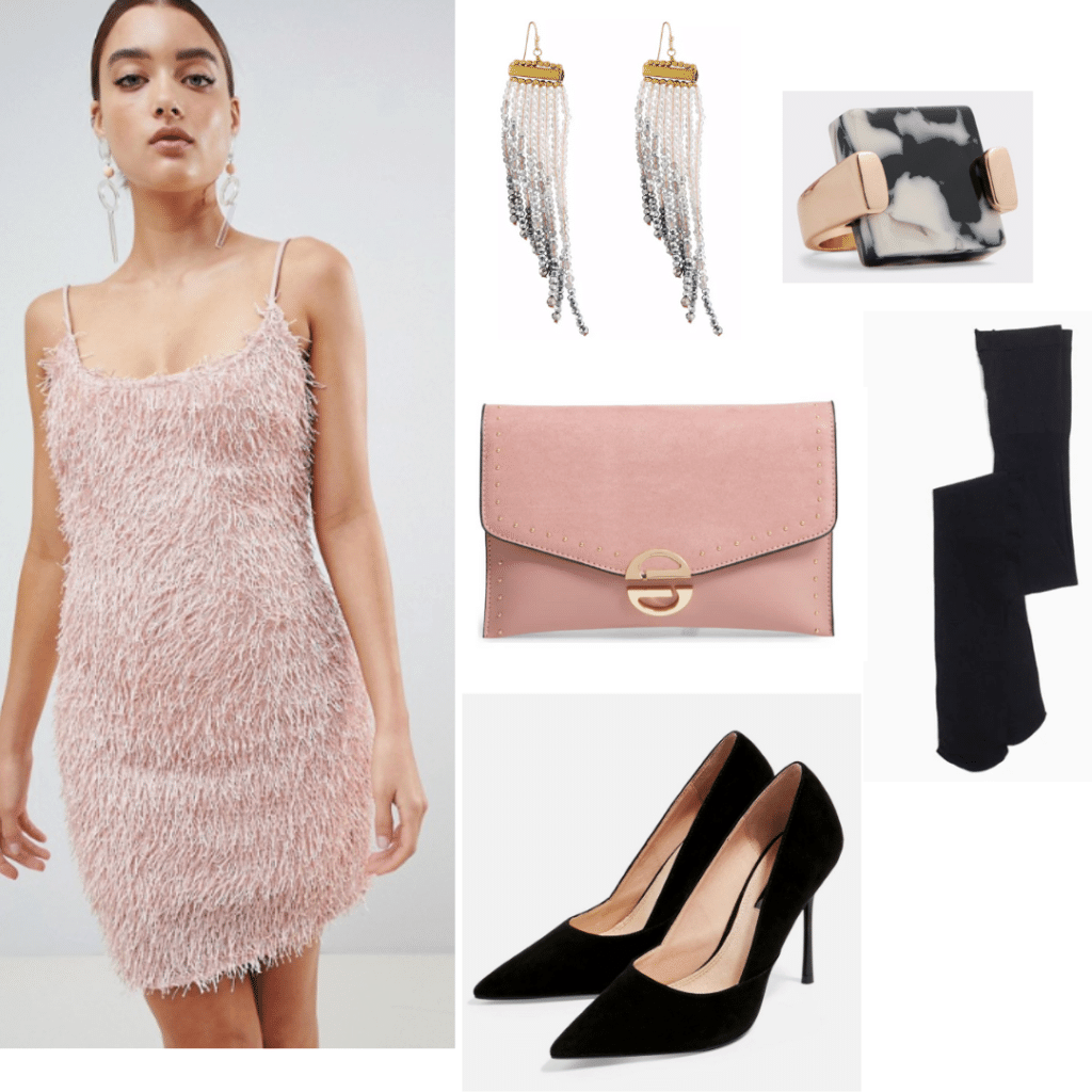 Factory girl style: Outfit inspired by Edie Sedgwick with pink fringe dress, pink clutch, black pointed toe heels, dangly earrings, black tights