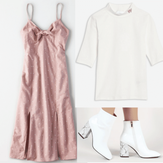 How to layer turtlenecks under any outfit: Pink dress, white turtleneck, white boots
