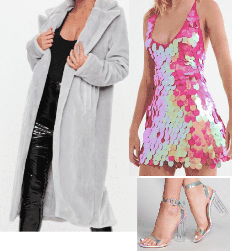 Ariana Grande 7 rings fashion - Outfit with gray fur coat, clear heels, pink sequin dress