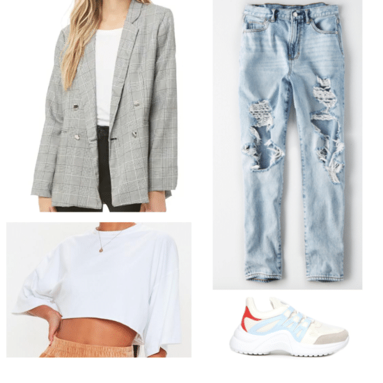 How to wear a plaid boyfriend blazer: Outfit with ripped jeans, cropped tee shirt, and dad sneakers