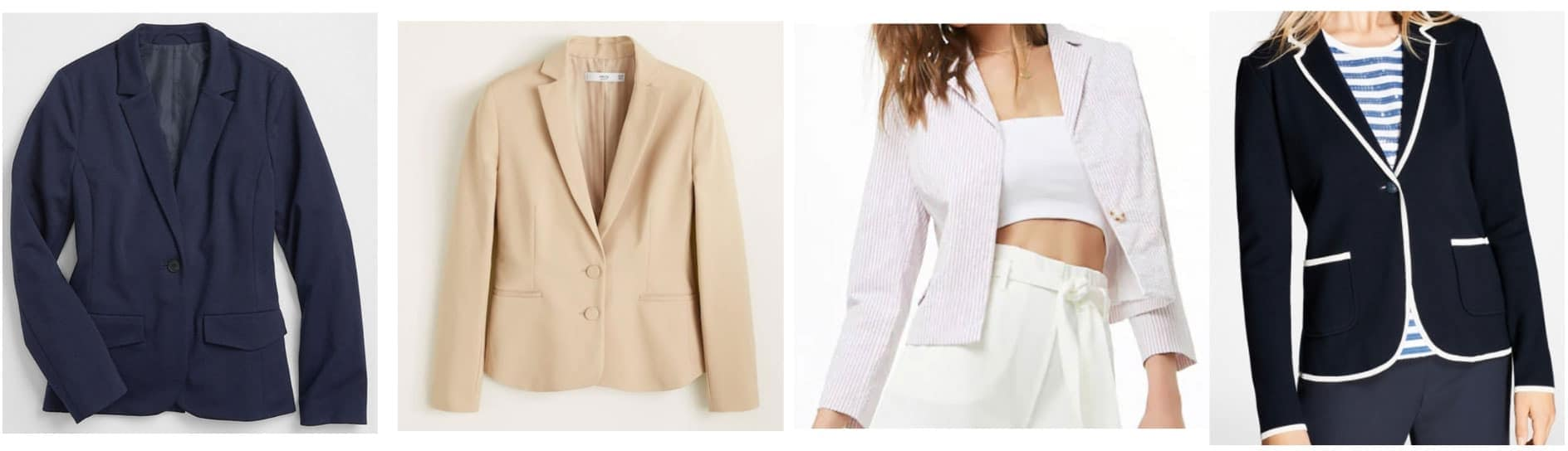 Preppy style - blazers: Navy blazer, camel blazer, pastel blazer, black and white piped blazer
