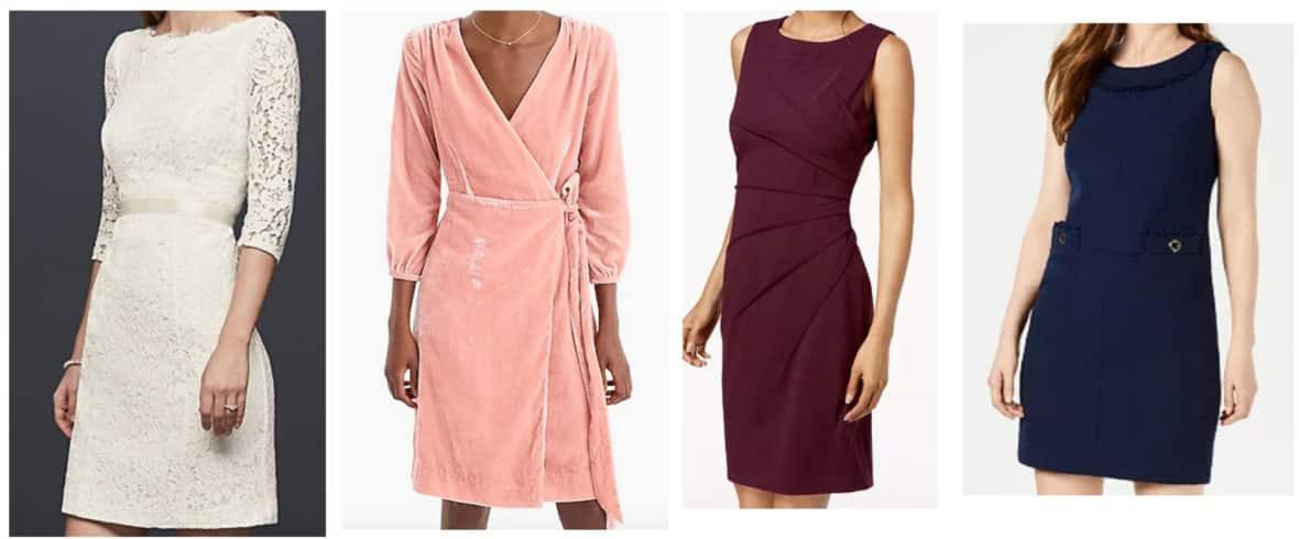 Sheath dresses -- lace dress, pink wrap dress, sleeveless dress
