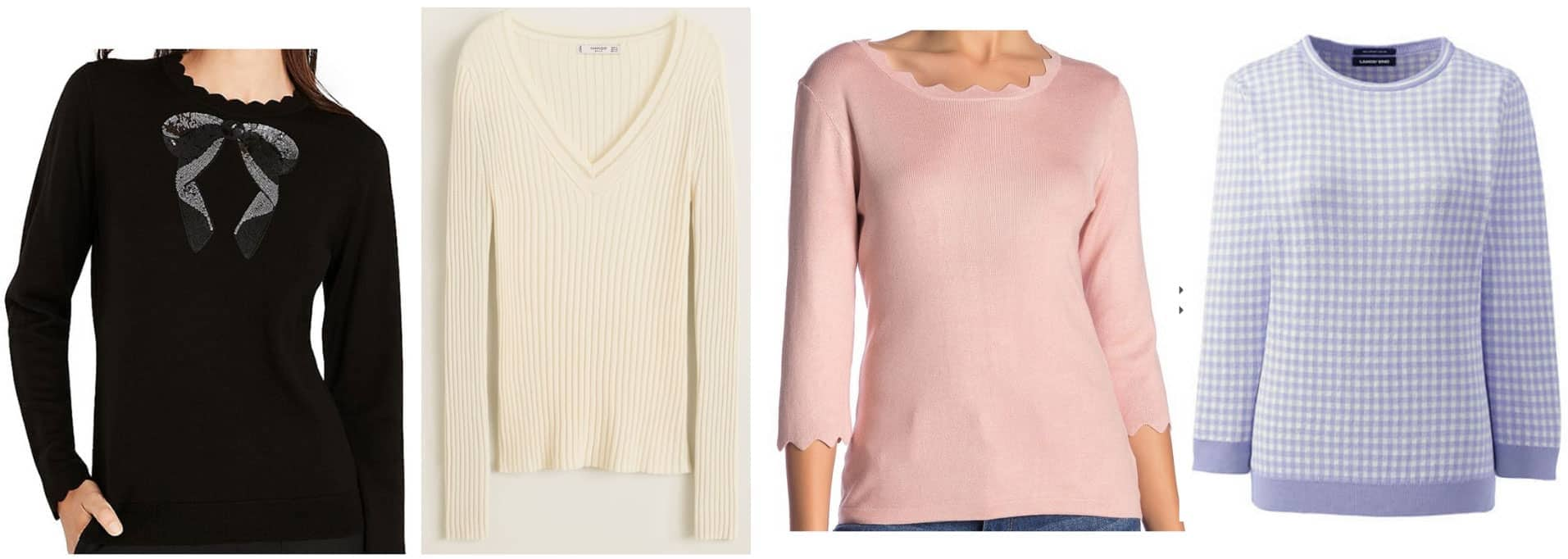 Preppy style guide: Thin sweaters -- black sweater, cream v-neck, scalloped sweater, pastel sweater