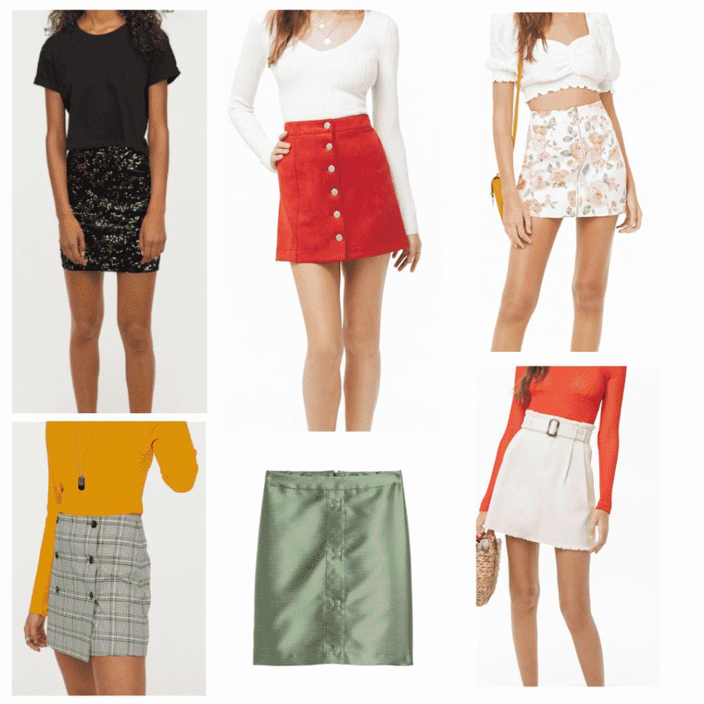 Mini Skirts: Sequined Mini Skirt, Checkered Mini Skirt, Red Suede Mini Skirt, Satin Mini Skirt, Floral Mini Skirt, Belted Mini Skirt