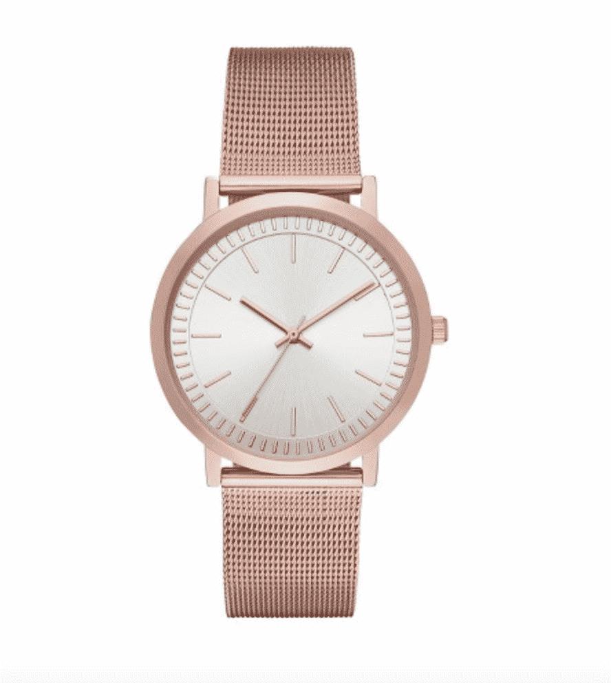 Rose gold mesh wristwatch