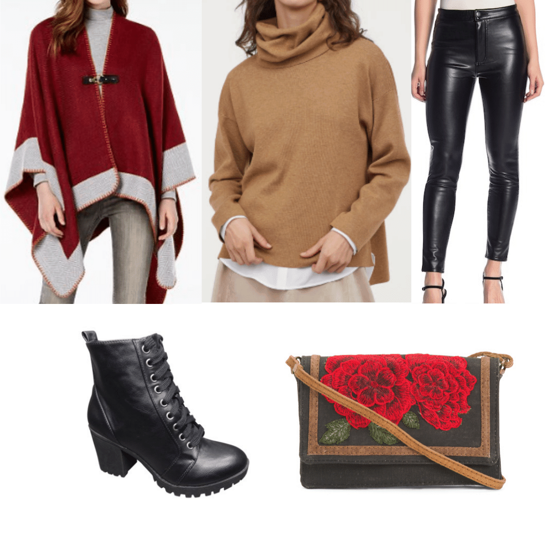What to wear in Russia during the day: Outfit idea with poncho, turtleneck, faux leather pants, lace up boots, crossbody bag