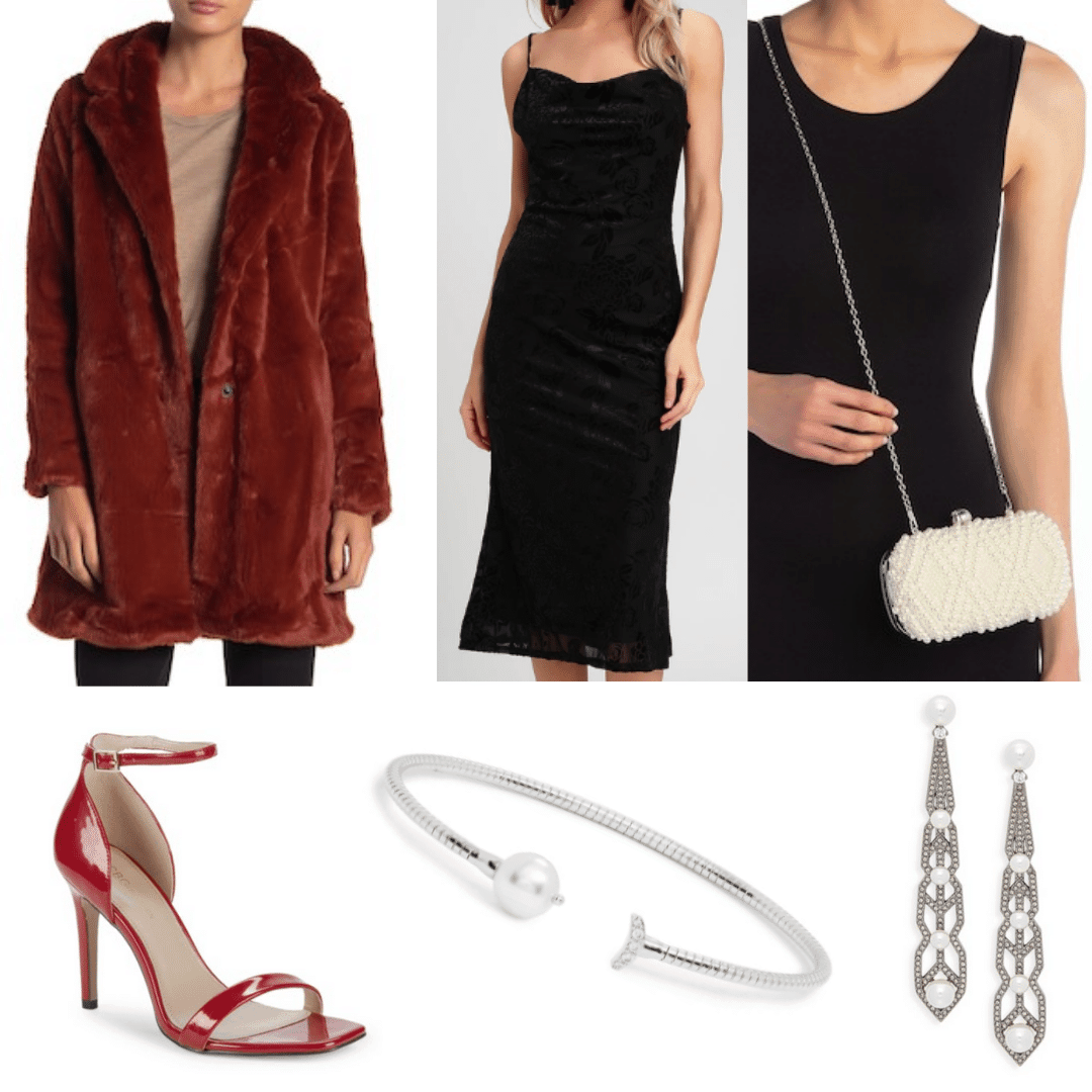 What to wear for a night out in Russia: Outfit idea with faux fur coat, black dress, crossbody bag in cream, strappy red heels, silver jewelry