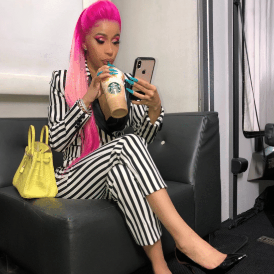 Cardi B with neon pink hair