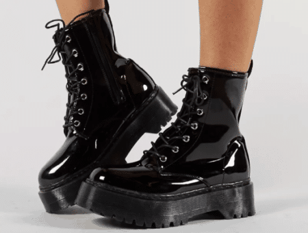 Chunky platform lace up ankle boots in black patent leather
