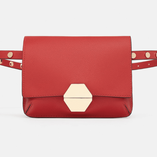 Red belt bag with gold accents