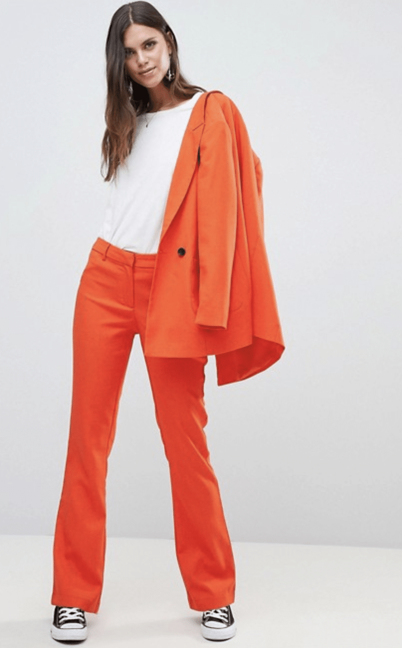 How to wear neon: Neon orange suit with pants and blazer