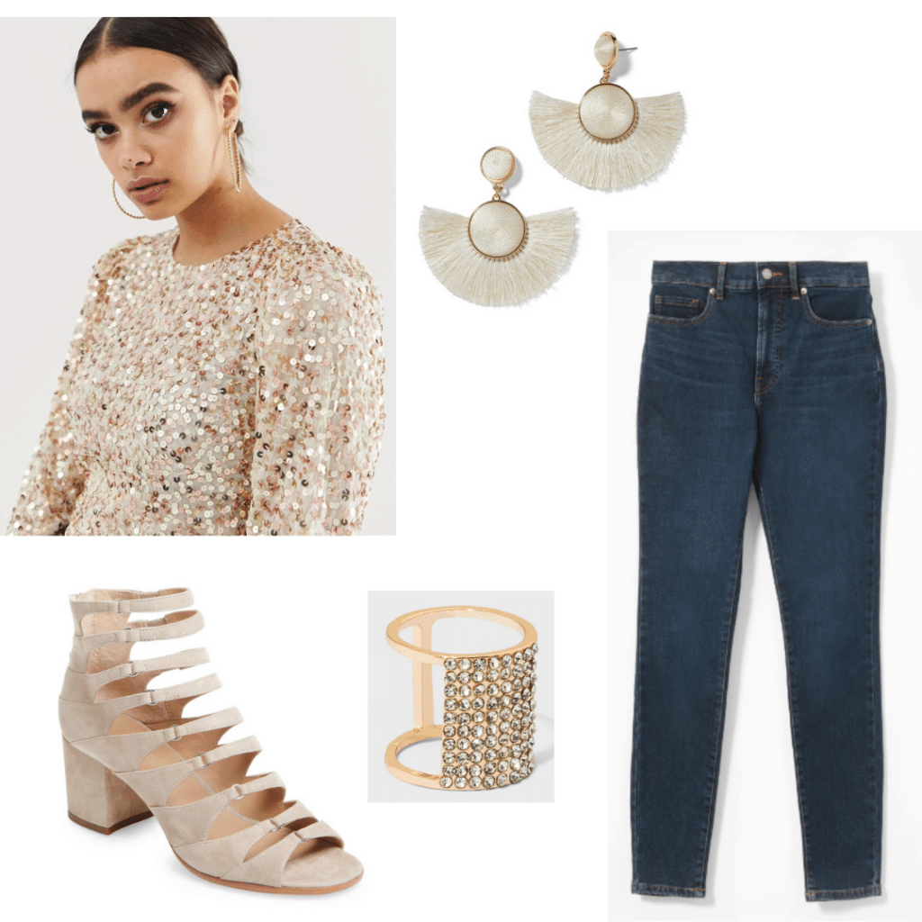 Factory Girl style: Sequin top, skinny jeans, gold earrings, gold ring, suede heels with buckles
