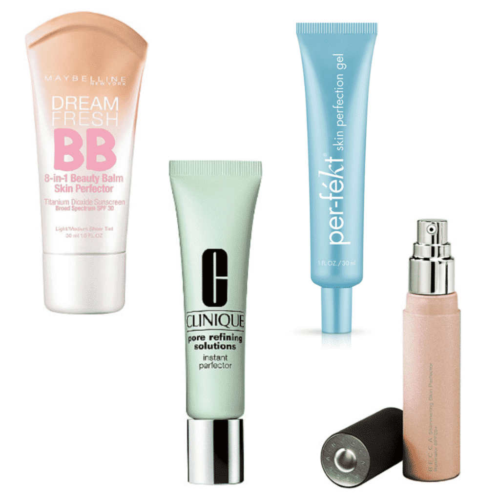 Skin Perfector: Maybelline Dream Fresh BB, Clinique Pore Refining Solutions, Perfekt Skin Perfecting Gel, Becca Shimmering Skin Perfector