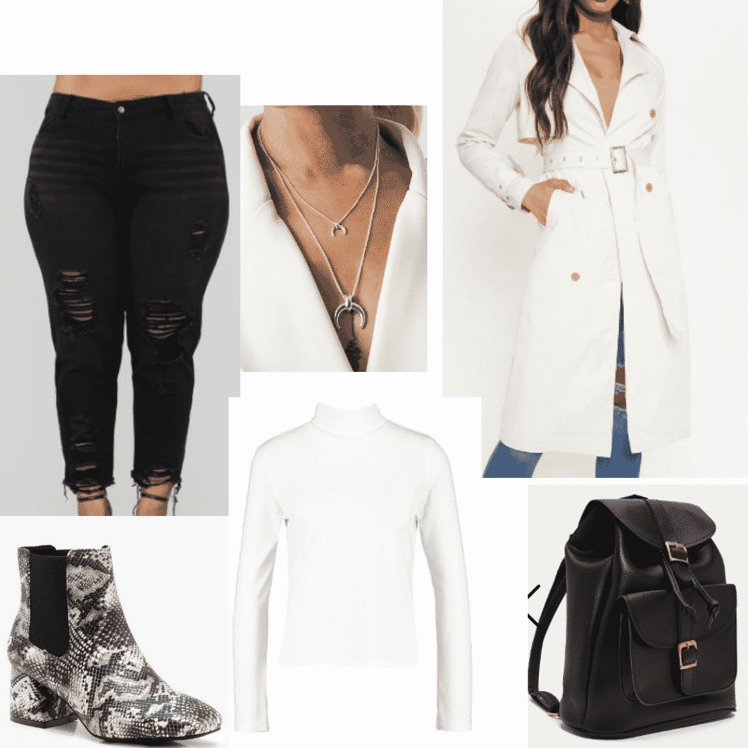 Snakeskin boots outfits -- cute outfit with black mom jeans, white turtleneck top, cream coat, black backpack, snakeskin boots, layered necklaces