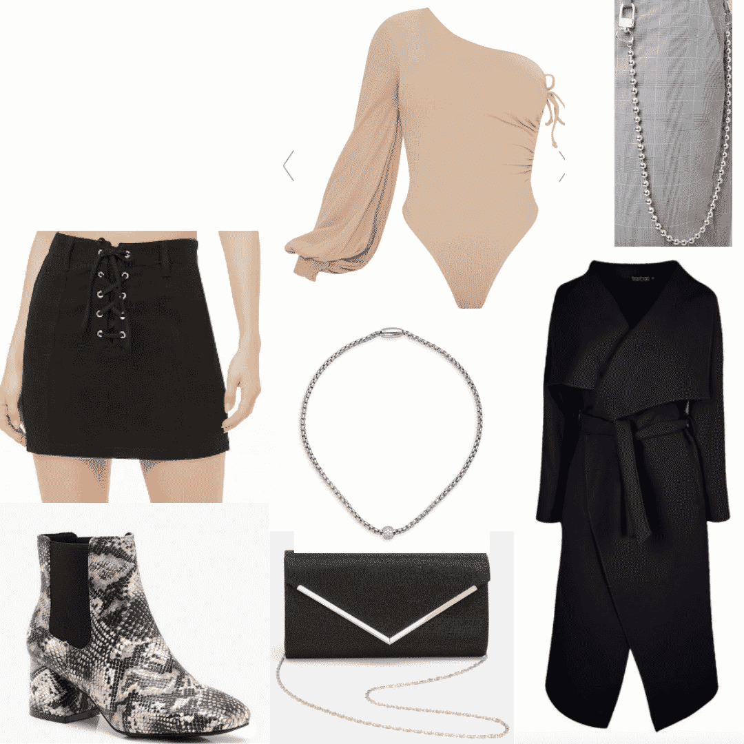 Snakeskin boots outfits -- cute outfit with one shoulder bodysuit, necklace, lace-up skirt, snakeskin ankle boots