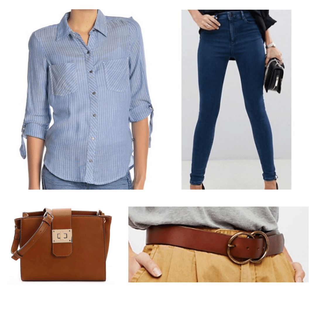 What to wear in St Petersburg Russia: Outfit with light blue button down shirt, dark wash jeans, brown belt, brown bag