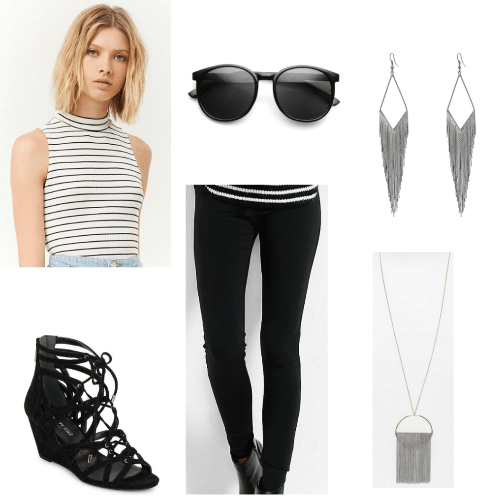 Factory Girl style: Outfit inspired by Edie Sedgwick with black pants, striped tank, lace up wedges, silver jewelry