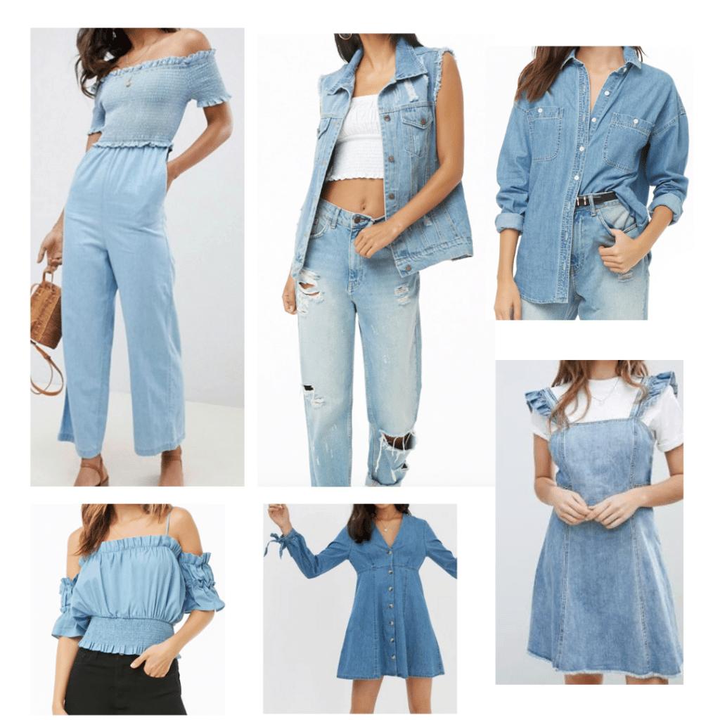 Denim Outfits: Denim Jumpsuit, Denim Off The Shoulder Top, Denim Vest, Denim dress, Denim Shirt, Denim Pinafore Dress