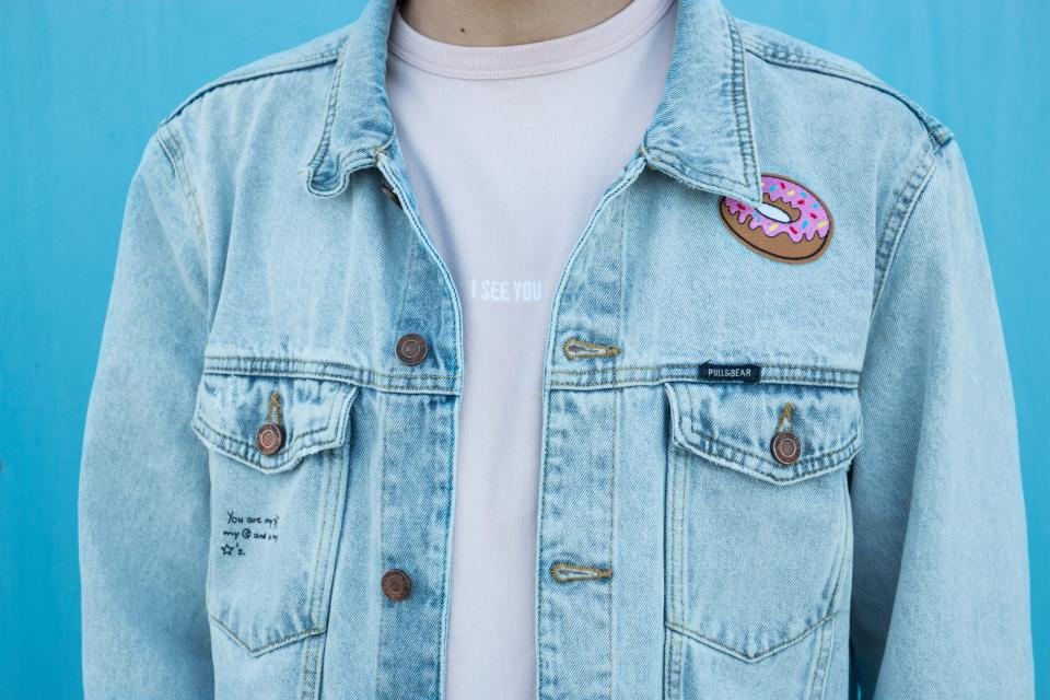 Jacket with a patch