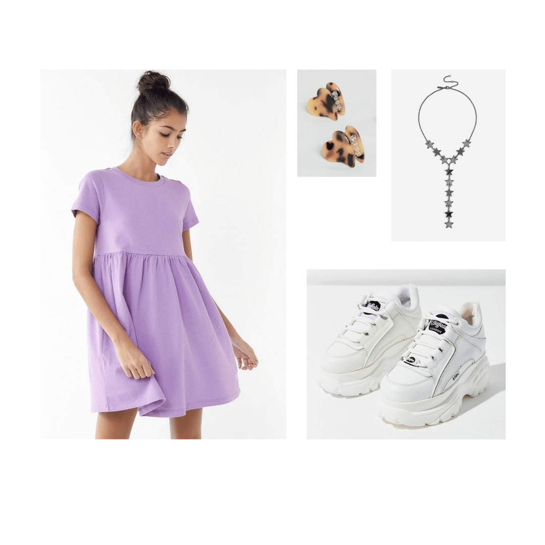 1990s decades party outfit: Babydoll dress, platform sneakers, heart earrings, choker