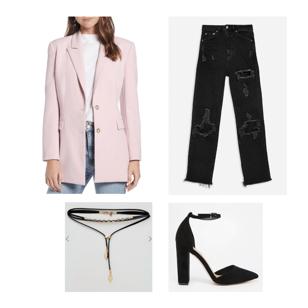 1980s decades party outfit: Oversized blazer, ripped jeans, choker, high heels