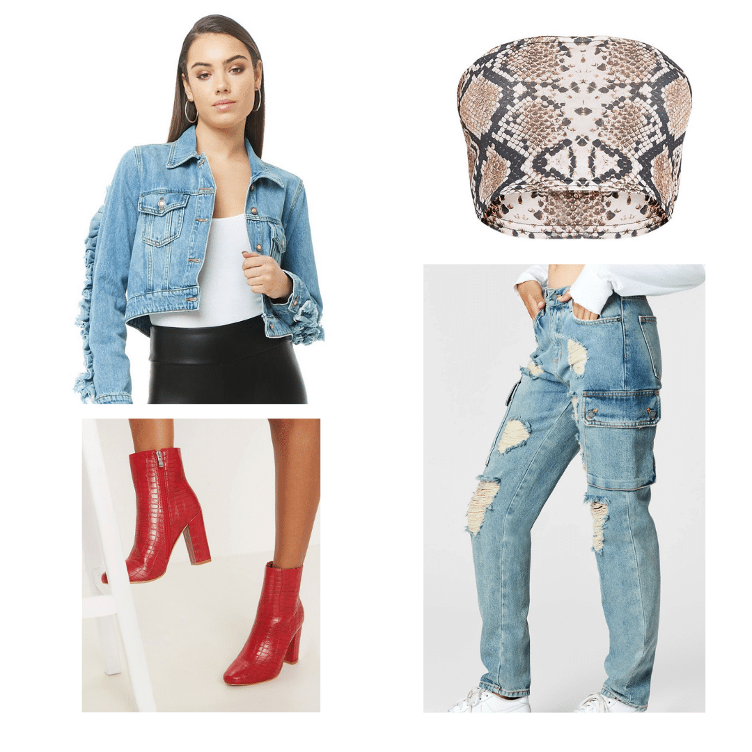 2000s decades party outfit: Denim on denim, red snakeskin boots, snakeskin tube top