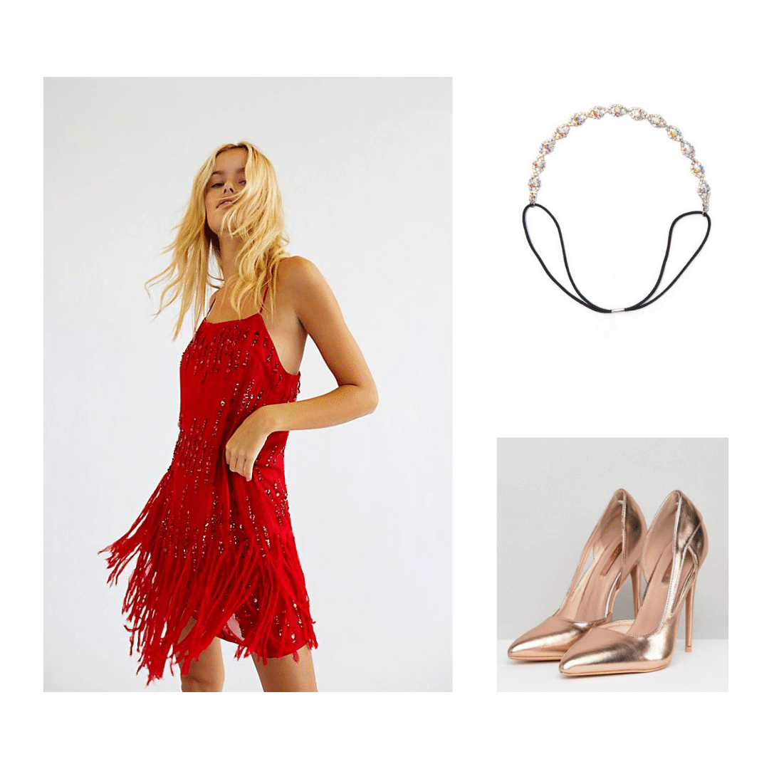 1920s decades party outfit: Red flapper dress, crystal headband, metallic shoes