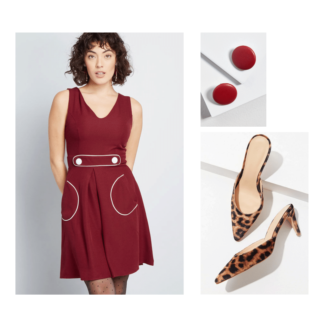 1960s decades party outfit: A-line dress in burgundy, dot earrings, leopard print kitten heels