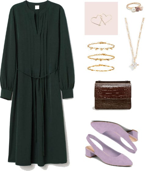 Valentine's Day outfit with green dress, gold jewelry, burgundy clutch bag, lavender heels