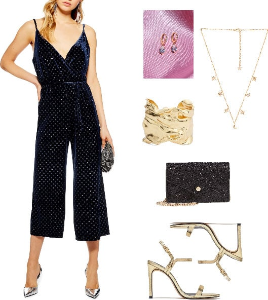 Valentine's Day outfit with blue jumpsuit, gold jewelry, sparkly black bag, gold heels