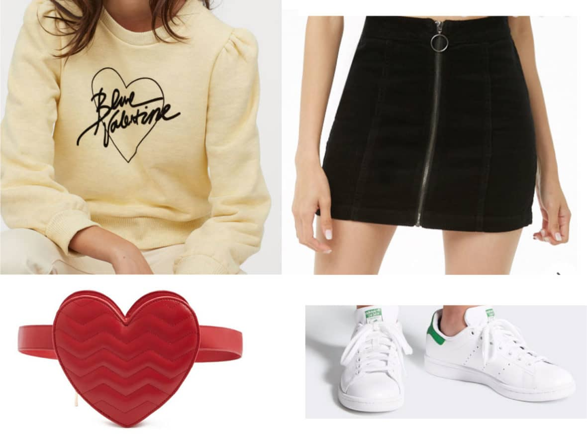 Cute Valentine's Day outfit idea with blue valentine sweatshirt, heart shaped belt bag, zip front mini skirt, Stan Smith adidas sneakers