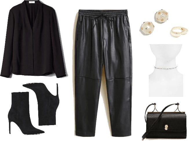 Valentine's Day outfit with black leather trousers, black blazer, black boots, black purse, choker and earrings