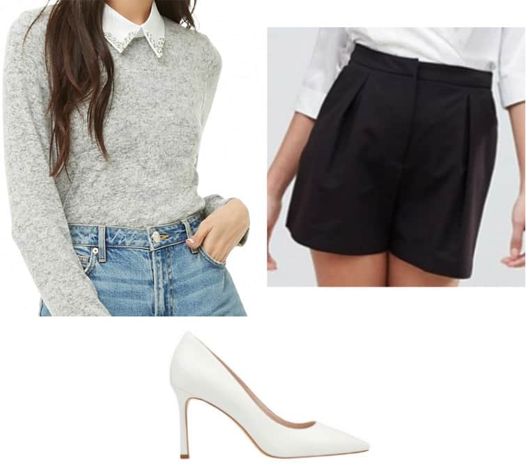 Veronica Lodge outfit for school with gray sweater, black shorts, white pumps