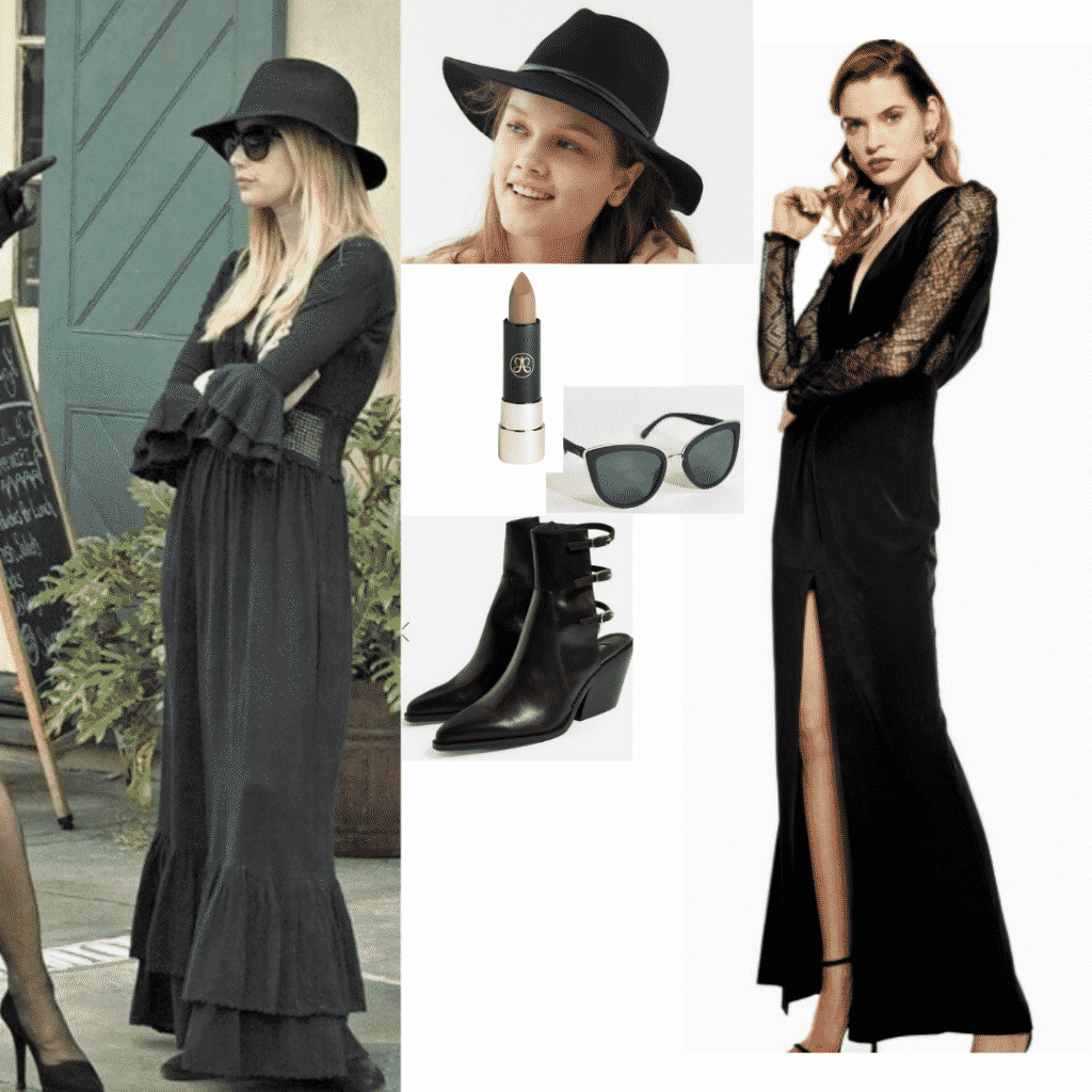 Madison Montgomery outfit with black maxi dress, black hat, and black ankle boots