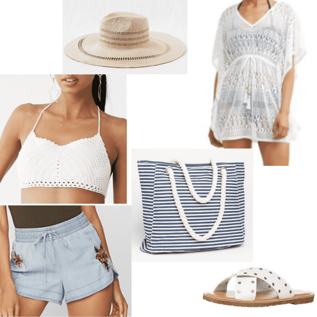 Tropical spring break vacation outfits: Crochet crop top, lace cover-up, denim shorts, sandals, beach bag