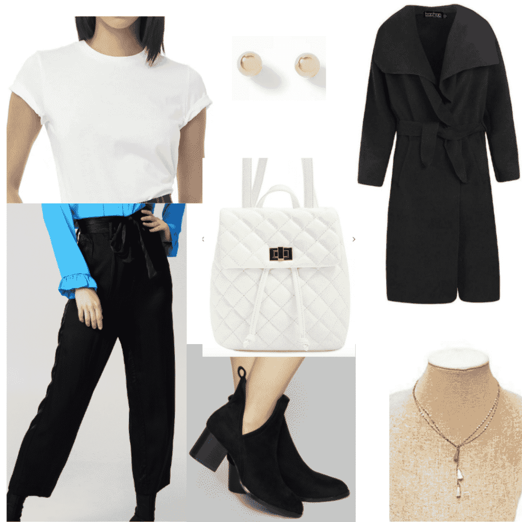 Satin pants outfit for class with black satin pants, white tee, ankle booties, black coat