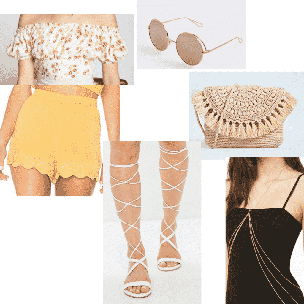 Cute spring break outfits for tropical vacations: Off shoulder top, lace up sandals, woven bag, circle sunglasses, scalloped shorts