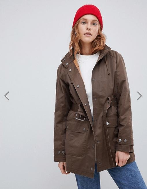 model in brown khaki utility jacket