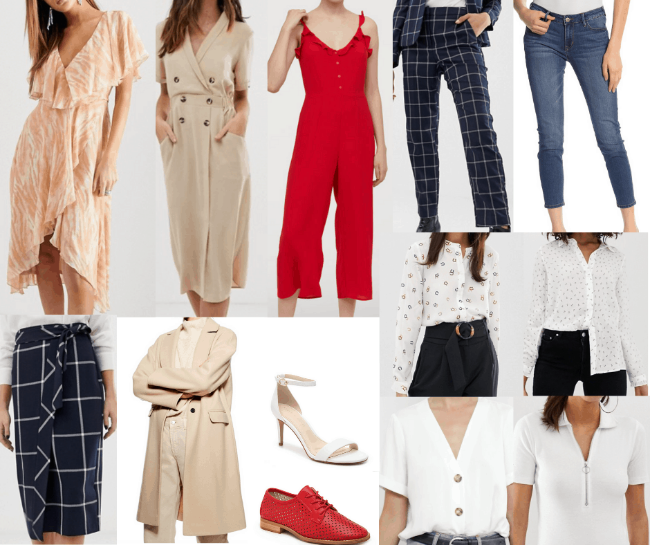 Amal Clooney wardrobe - capsule wardrobe inspired by Amal's style with dresses, jumpsuit, pants, button-down shirts, skirt, heels, oxfords, coat