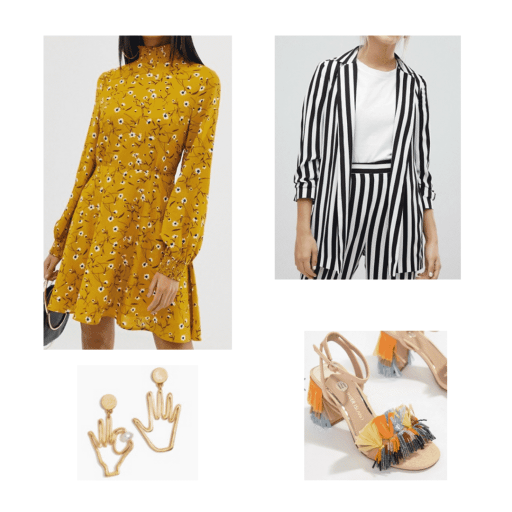 Aria Montgomery wardrobe: Outfit inspired by Aria with yellow dress, striped blazer, funky earrings