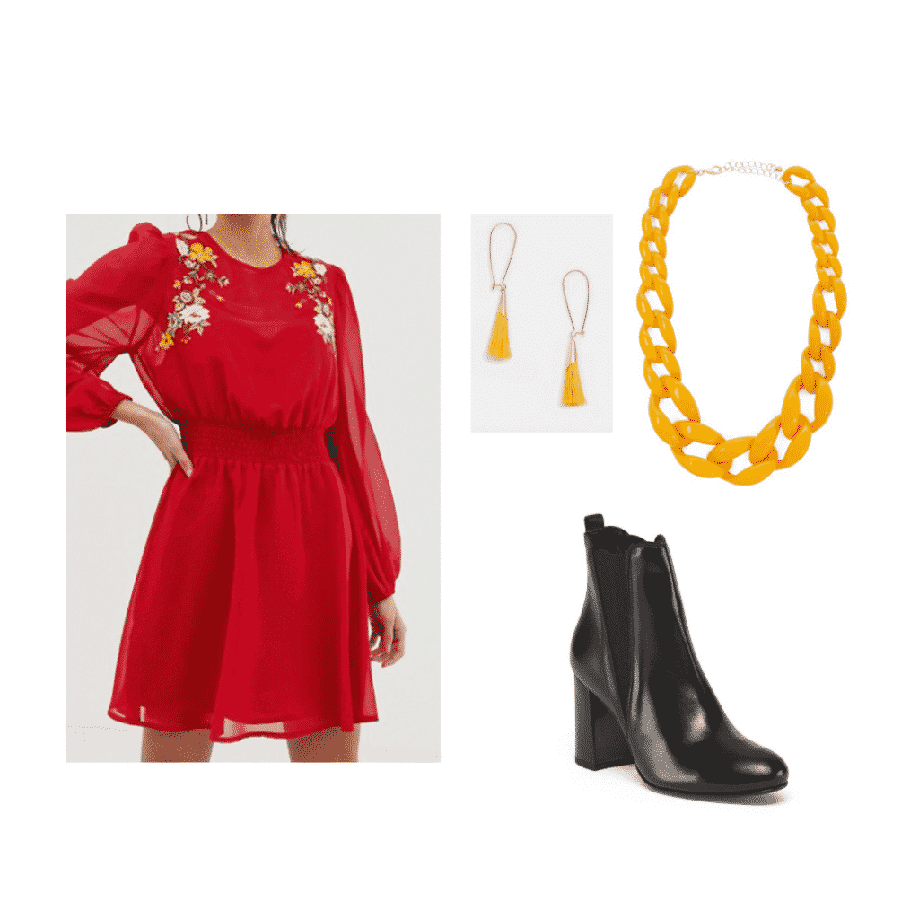 Aria Montgomery wardrobe: Outfit inspired by Aria with red dress, black boots, yellow jewelry
