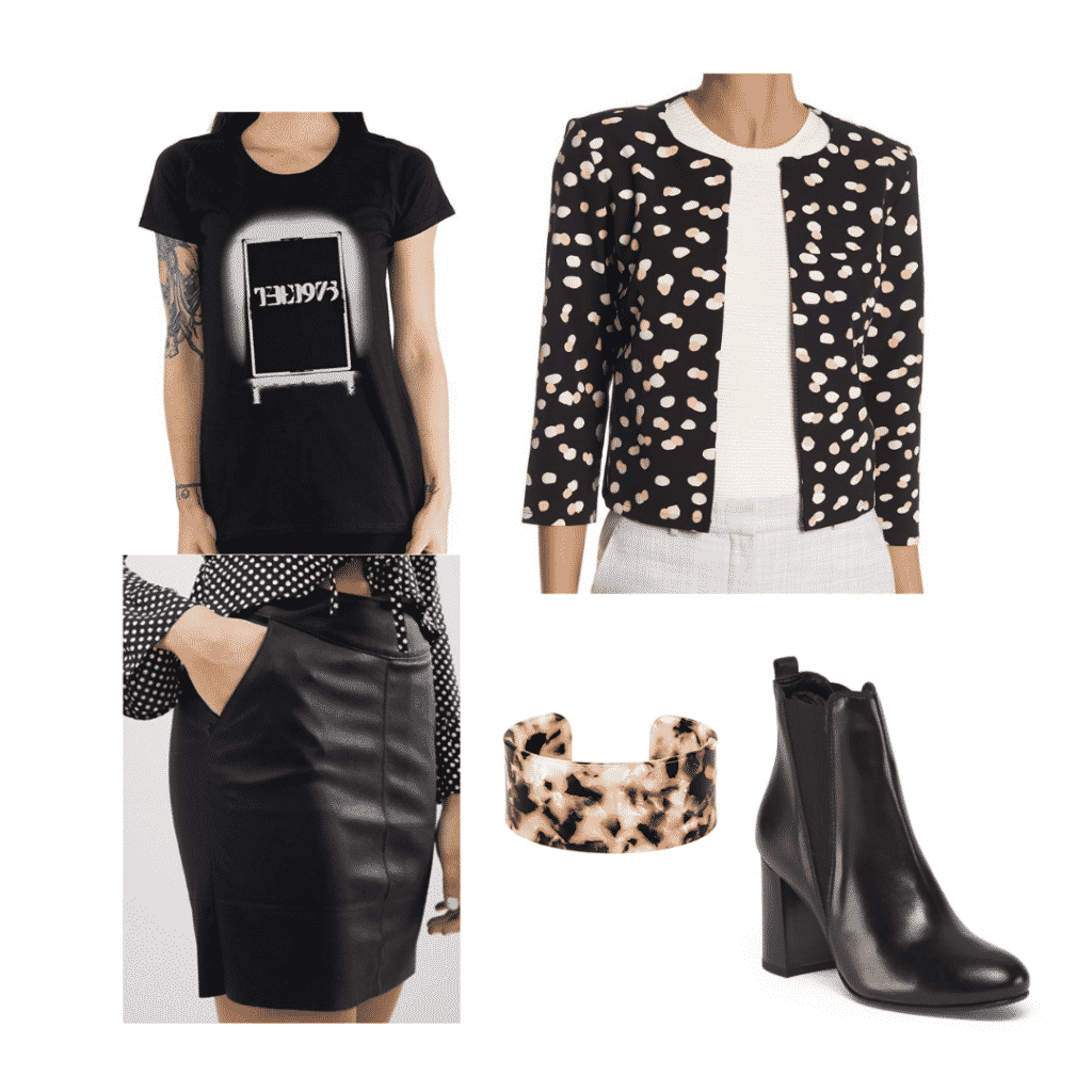 Aria Montgomery wardrobe: Outfit inspired by Aria with black skirt, printed blazer, graphic tee, boots
