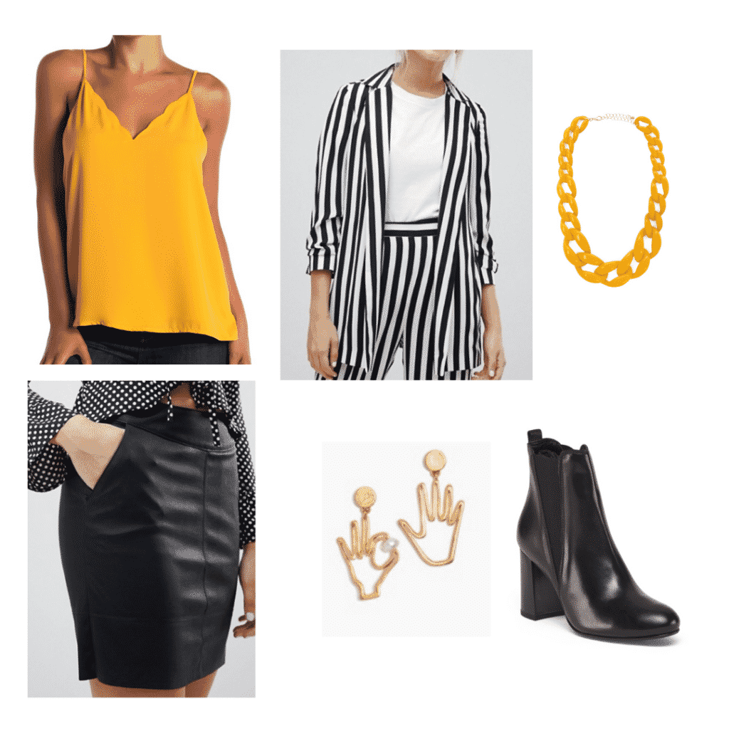 Aria Montgomery wardrobe: Outfit inspired by Aria's style with black leather skirt, black boots, striped blazer, yellow top