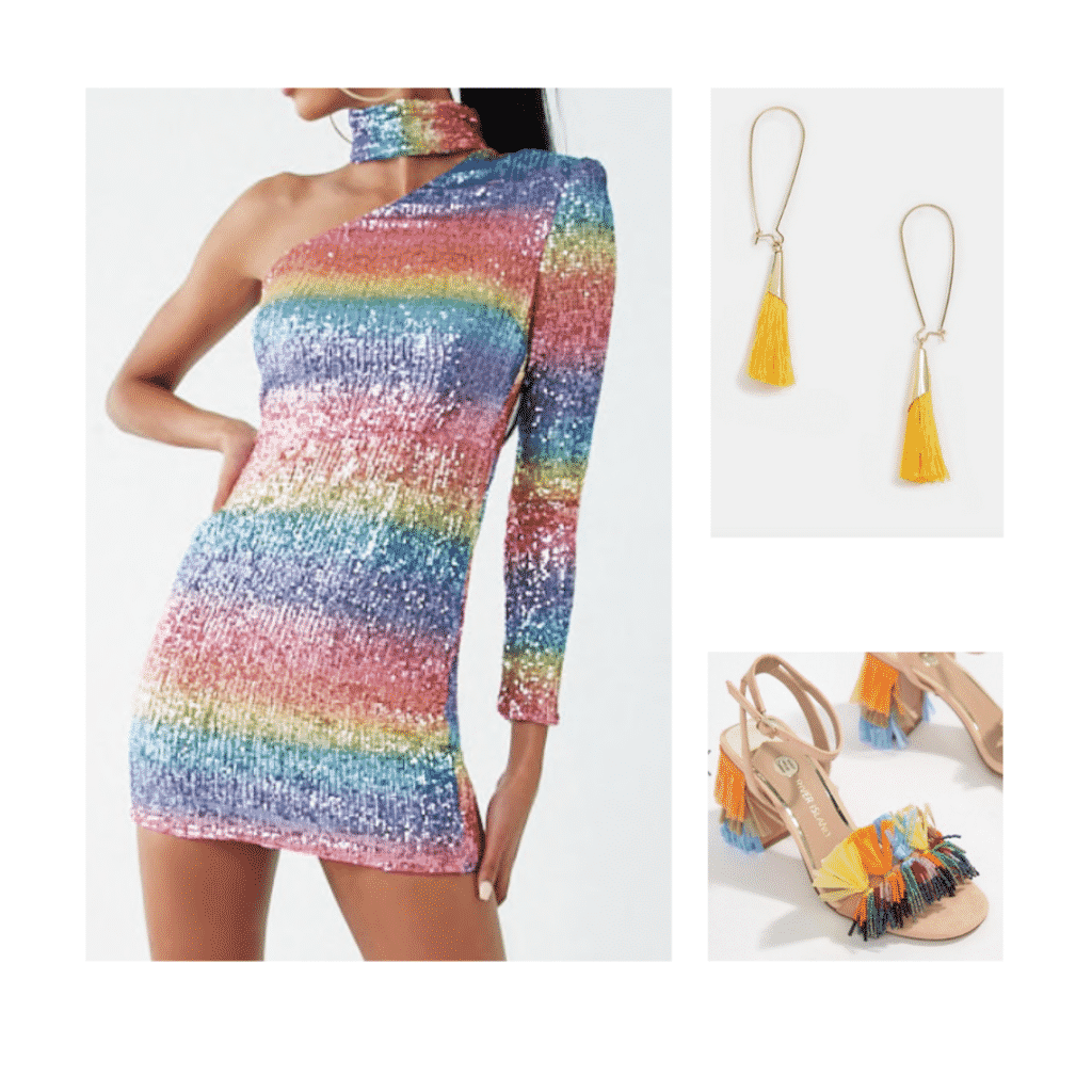 Aria Montgomery night out outfit with sequin dress, yellow earrings, funky heels
