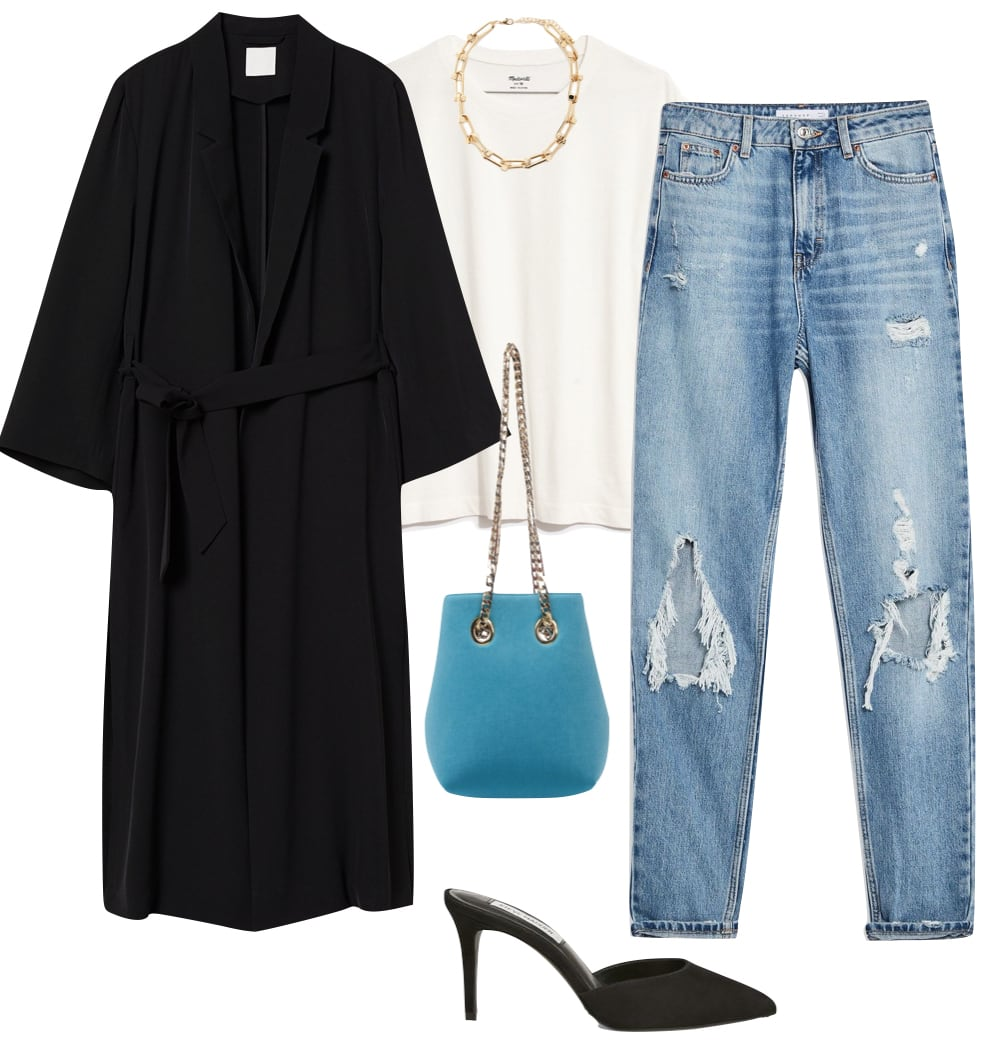 Ashley Benson Outfit: long black coat, white short sleeve t-shirt, ripped straight leg jeans, gold chain necklace, turquoise and gold chain link bag, and black pointy toe mules